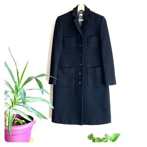 J. Crew Long Double Breasted Black Coat Size 2